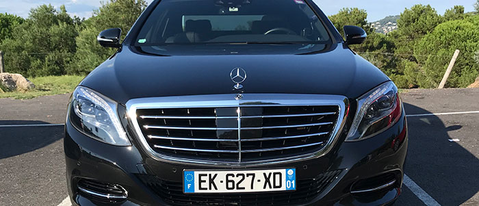 Mercedes S-Class with chauffeur in Cannes, Nice and all of Europe